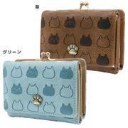 【財布:レディース】ほっこりにゃんこ/三つ折り財布ねこ【茶 】