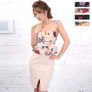 3142刺繍フラワーセクシーミニドレス パーティードレス キャバドレス