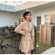 品質良い!店舗お勧め! 2019 新レジャー 気質 シンプル スーツカラー ウエスト カレッジ風 プリーツスカート