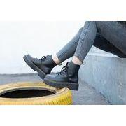 フラッツ ひもあり ラウンド カジュアルシューズ 高い靴 ブラック マーティンブーツ ハ