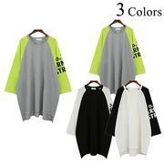 ラグランスリーブ 配色 バックロング Tシャツ 七分袖 ワイド かわいい カットソー カジュアル ルース