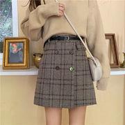 秋 韓国風 グリッド ハイウエスト 言葉 スカート 女性のスカート 秋冬 何でも似合う