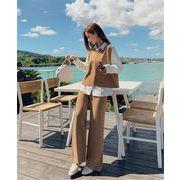 おしゃれの必需品  スリーピーススーツ 秋 気質 ベストトップ+シャツ+ワイドレッグパンツ セット 女性