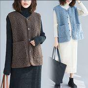 【秋冬新作】ファッションタンクトップ♪ブルー/ブラウン2色展開◆