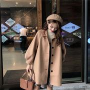 新作 韓国 sweet系 ミディアムロング 怠惰な風 カジュアル エレガント ウールコート 単体ボタン トップス
