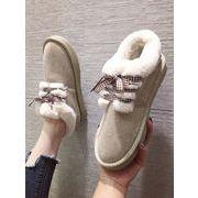 コットン靴 女 ウインター 裏起毛 新しいデザイン 手厚い 暖かい フラット パンの靴