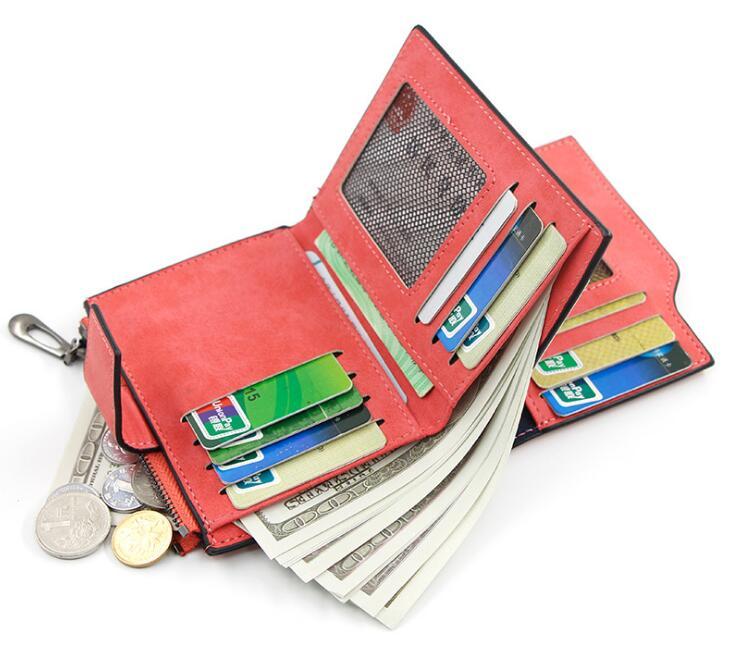 レディース 二つ折り財布 PU皮革 多機能 ファスナー小銭入れ付き