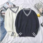 【2019秋冬新作】メンズ◆ニット トップス◆長袖◆カジュアル◆Vネックのセーター◆2色◆M-XXL