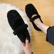 靴 女靴 秋冬 新しいデザイン 何でも似合う ふわふわシューズ フラット 裏起毛 フェア