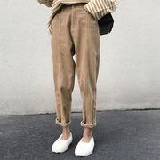 コーデュロイ ストレートジーンズ 秋 新しいデザイン 韓国風 大根パンツ 着やせ カジュ