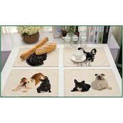 コットン リネン 洋風フード マット フレンチブルドッグ 犬 シリーズ 印刷
