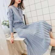 ニットトップス+ニットスカート 韓国ファッション プリーツスカート