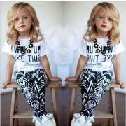 子供セット ゆったり キッズ  女の子  子供服 スーツ 半袖Tシャツ プリントパンツ カジュアルウェア