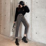 新しいデザイン アンティーク調 不規則な ハイウエスト 女性のジーンズ 秋 韓国風 水洗