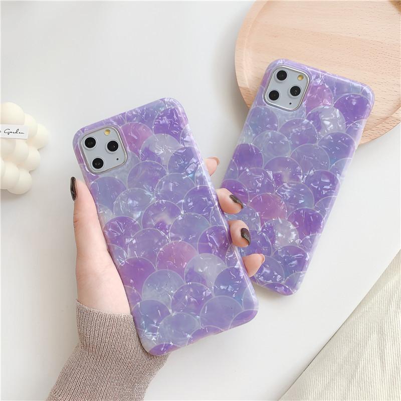 大理石 iPhone11 マーメイド ウロコ シェルiPhone ケース 貝殻