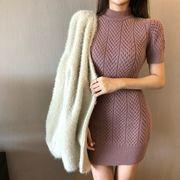 韓国風 風 単一色 着やせ 着やせ ニッティング パッケージヒップスカート 秋 新しいデ
