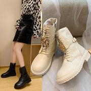 靴 女靴 秋冬 新しいデザイン マーティンブーツ 女性英国スタイル ひもあり ネット レ