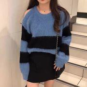 怠惰な 風 セーターの女性 秋冬 ソフト 韓国風 ロング 何でも似合う スタイル 肩なし