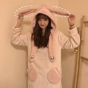 ナイトドレス 女 秋冬 新しいデザイン 韓国風 スウィート かわいい ウサギの耳 帽子付