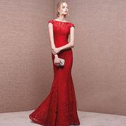 カラードレス ロングドレス  赤い色 マーメイドライン  Evening dress