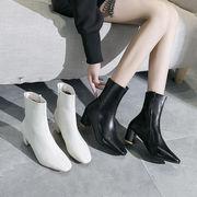 新しいデザイン ブーツ スクエアヘッド シングルブーツ 太いヒール マーティンブーツ サ