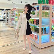 女性長袖ファッション レトロ トップス カラーマッチング シャツワンピ中・長セクション初秋ワンピース