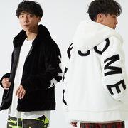 【2019秋冬新作】 メンズ ファー バックロゴ BIGサイズ 刺繍 ZIP パーカー