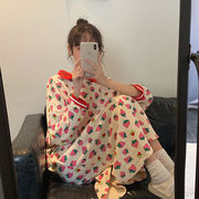 秋 新しいデザイン 韓国風 レターズ プリント 苺 さらに 洋服 ナイトドレス 女子学生