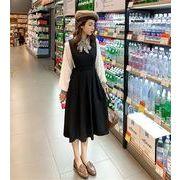 春 新着 ブラック ストラップ プリーツスカート 女性 ノースリーブ ミディアムロング ドレス