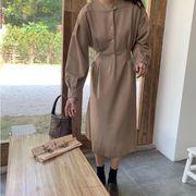 【NEW】ピンタックワンピース 韓国 韓国ファッション ワンピース 韓国ワンピース 長袖 秋服 シンプル