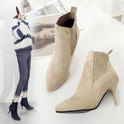 一番安い2色 韓国ファッション  ブーツ 靴 秋新しいデザイン 太いヒール ブーツ ヒント 細いヒール