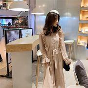 新品 レトロ 慎重な機械 スリム シフォン ドレス プリーツスカート