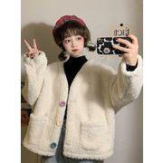模倣します ラムコート 秋冬 新しいデザイン 韓国風 ファッション 襟 カラー ボタン