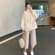 ファッション セット 女 新しいデザイン 秋冬 手厚い 襟 ラムコート ルース 着やせ