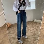 ハイウエスト 女性のジーンズ 秋冬 パンツ 韓国風 何でも似合う 学生 ストレートジーン