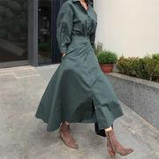 韓国ファッション ロング ワンピース シンプルスタイル