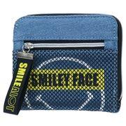 【財布】スマイリーフェイス 二つ折り財布 メッシュデニム