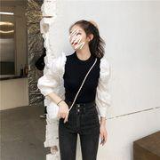 韓国ファッション ニット 切り替え ボリューム袖 スリム レディーズ 重ね着風 カットソー レトロ調