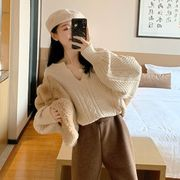 秋冬 新しいデザイン 韓国風 ルース 襟 ツイスト 紋 長袖のセーター 女性セクシー 何