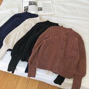シングル列ボタン ツイスト 単一色 セーターの女性 新しいデザイン 冬服 韓国風 ルース