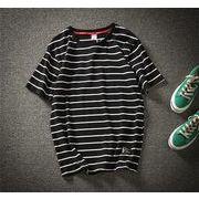 半袖 メンズ Tシャツ ラウンドカラー ファッション 夏  トップスブラック