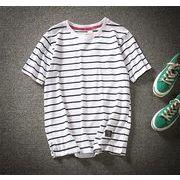 半袖 メンズ Tシャツ ラウンドカラー ファッション 夏  トップスホワイト