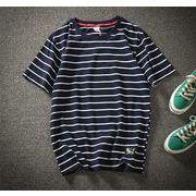 半袖 メンズ Tシャツ ラウンドカラー ファッション 夏  トップスネイビー