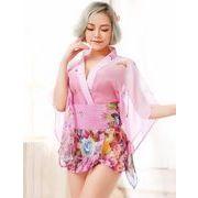 ベビードール  パジャマ ナイトウエア 着物 花柄 ピンク