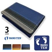 全3色 HANG TEN ハンテン リアルレザー トリコロールカラー 名刺入れ カードフォルダー