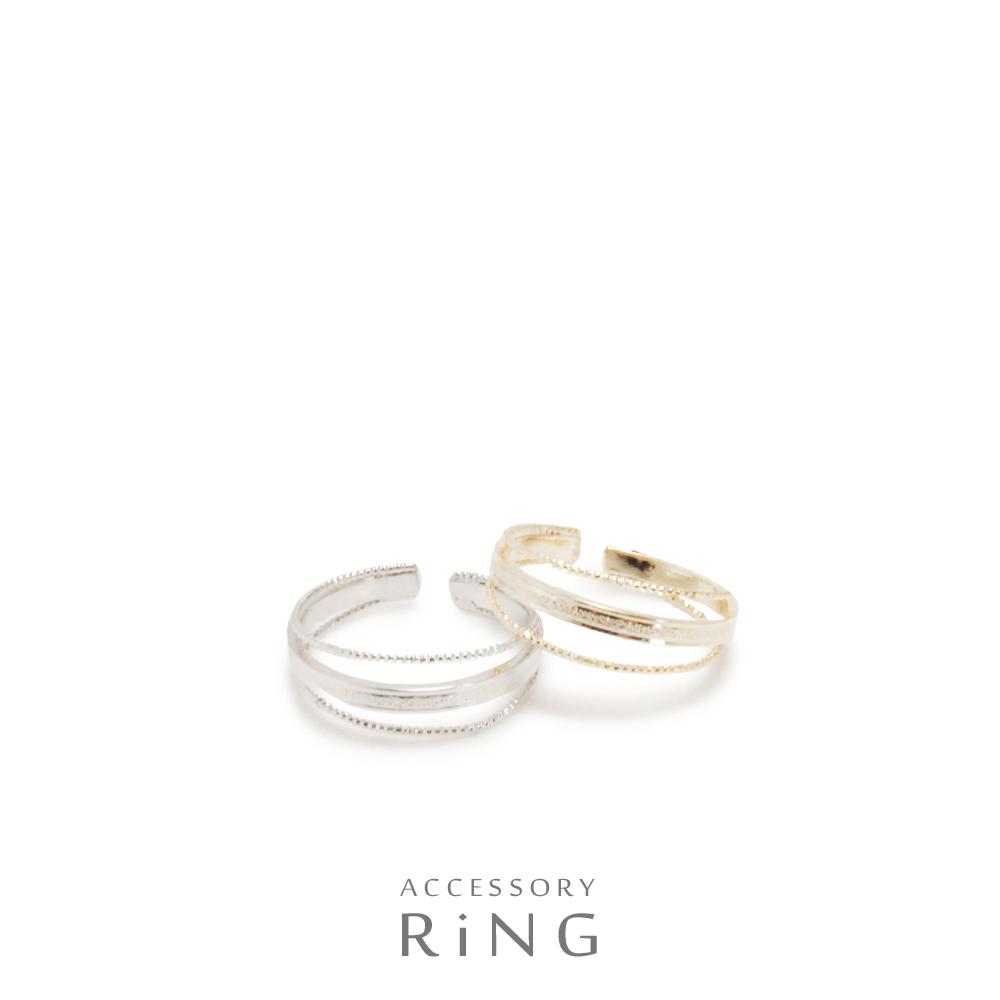 ▼MAGGIO▼ 【クールな印象☆】 手元の存在感を発揮! 3連スリムメタルリング(指輪)