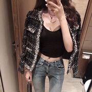 秋冬 若い女性 アンティーク調 ツイード ショートコート 女 新しいデザイン 韓国風 何