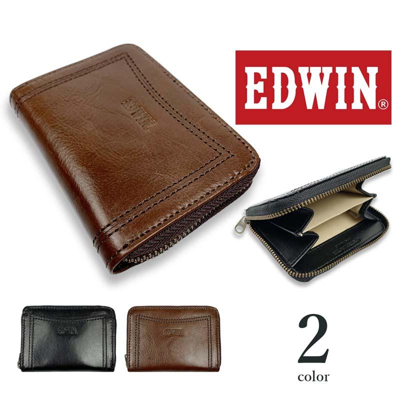 【全2色】EDWIN エドウイン リアルレザー ラウンドファスナー コインケース 小銭入れ ミニ財布