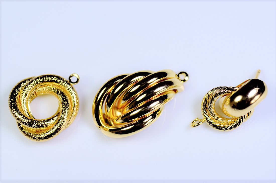 【銅製高品質】立体幾何パーツ トレンドパーツ ピアス基礎金具 リングチャーム