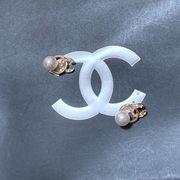 定形外773415】カメリアラ インストーン バラ 薔薇 フラワー ピアス イヤリング 真珠 パール